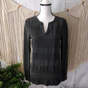 Lucky Brand Black Faded Thermal Knit V Sweater S